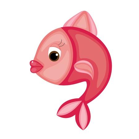 귀여움: 밝은 만화 물고기 일러스트