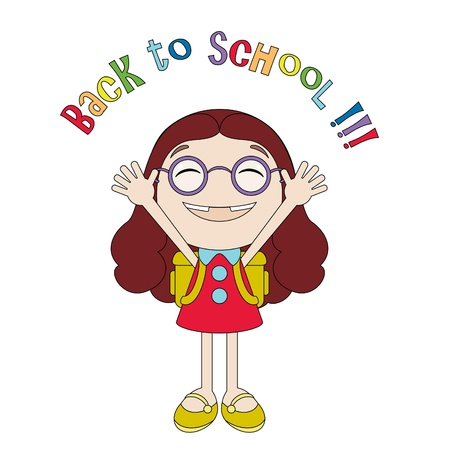 cartoon school girl: Funny little girl enjoying back to school