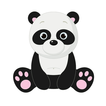 Cute isolated panda 向量圖像