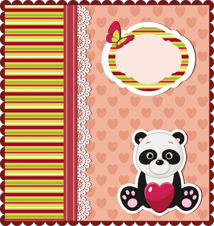 Nice bright card with panda Vector