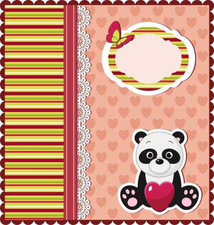 Nice bright card with panda Иллюстрация
