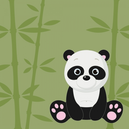 Cute panda on green bamboo background