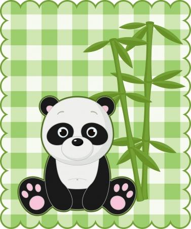 귀여운 팬더와 좋은 녹색 카드 일러스트