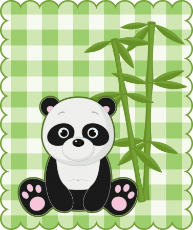 Nice green card with cute panda Vector