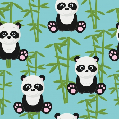 Seamless baby panda wallpaper Vector