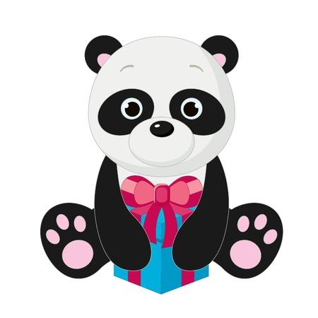 baby bear: Cute isolated panda with gift box