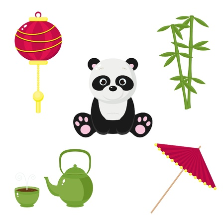 chinese tea cup: Iconos chinos Vectores