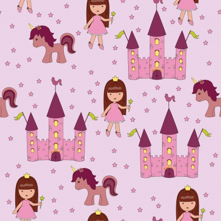 Seamless princess wallpaper Stock Vector - 14353713