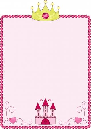 princesa: Princesa rosa marco con la corona y el castillo