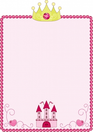 Princess pink frame with crown and castle Vector