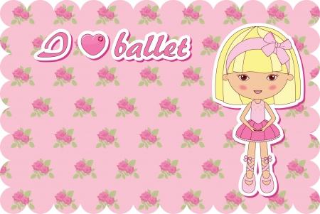 Ballerina pink card Vector