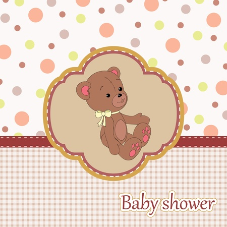 Baby shower card with teddy bear Çizim