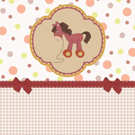 baby toy: Baby shower card with vintage toy horse