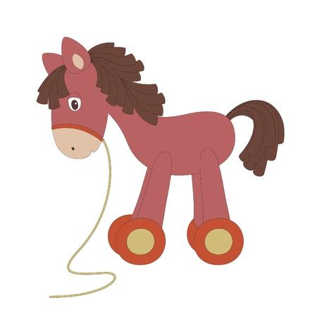 Vintage toy horse, isolated on white