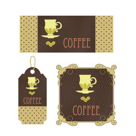 Retro tags coffee 向量圖像