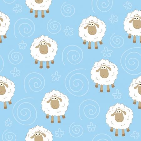 textura lana: Papel pintado Seamless azul con ovejas