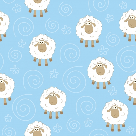 Seamless blue wallpaper with sheeps Vector