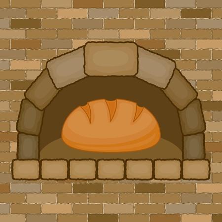 Estufa de la vendimia con el pan Foto de archivo - 14832070
