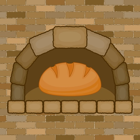 Vintage stove with bread Vector