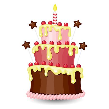 Nice bright birthday cake Stock Illustratie