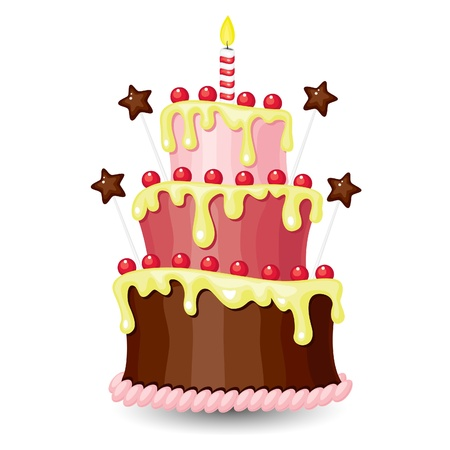 pink cake: Nice bright birthday cake Illustration