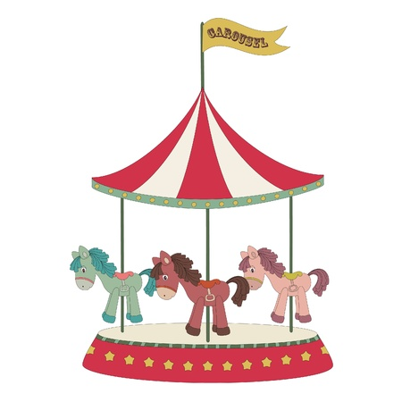 Cartoon merry-go-round 向量圖像