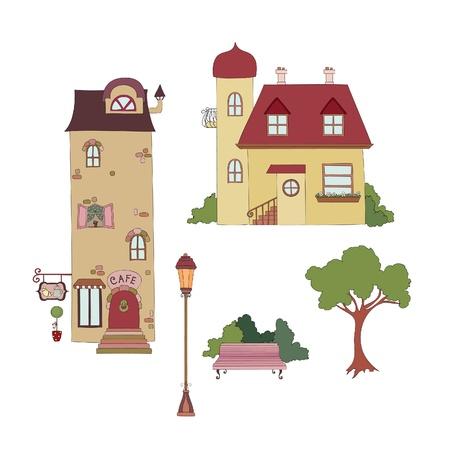 city view: Cartoon houses