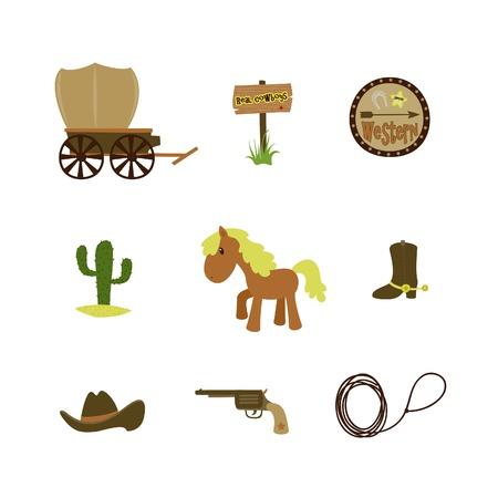 Western American cowboy set Vector