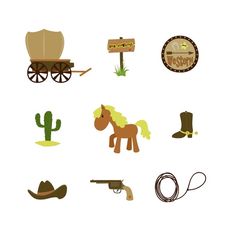 horse drawn carriage: Western American cowboy set