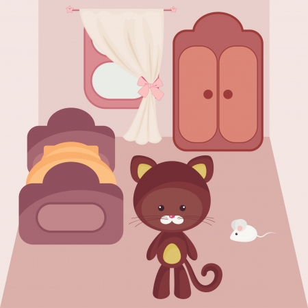 Cartoon interior  Kitten and mouse in the middle of bedroom Vector