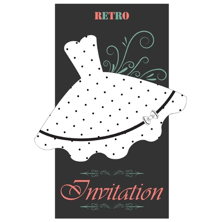white dress: Retro invitation Illustration