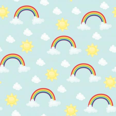 Seamless wallpaper  Cute rainbow, sun and cloud Vector