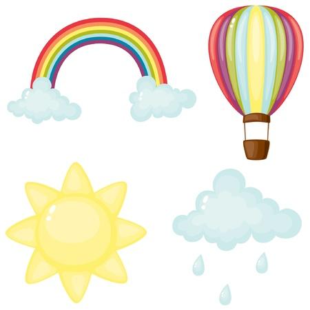 arcoiris caricatura: Ilustración de dibujos animados conjunto Sky
