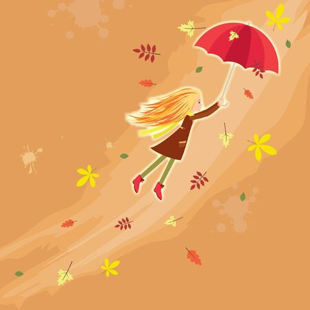 Flying autumn girl Vector