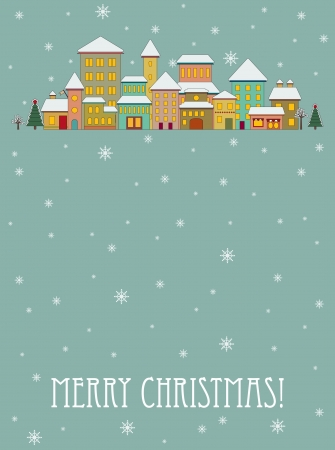 Christmas card with cartoon houses Vector