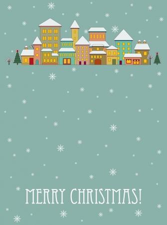 Christmas card with cartoon houses Illusztráció
