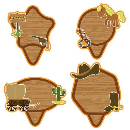 country western: Autocollants occidentaux cowboys am�ricains mis en Illustration