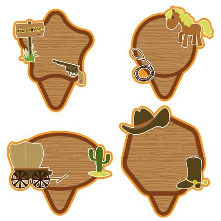 Western American cowboy stickers set Vector