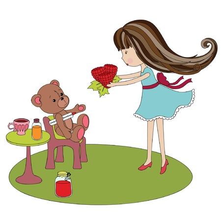 Ziek teddybeer met een klein meisje