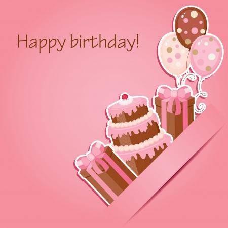 Roze verjaardagskaart
