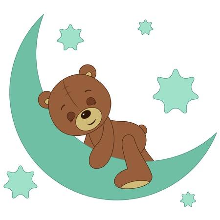 Teddy bear sleeping on a moon
