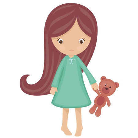 girl: Little girl in pajamas with teddy bear Illustration
