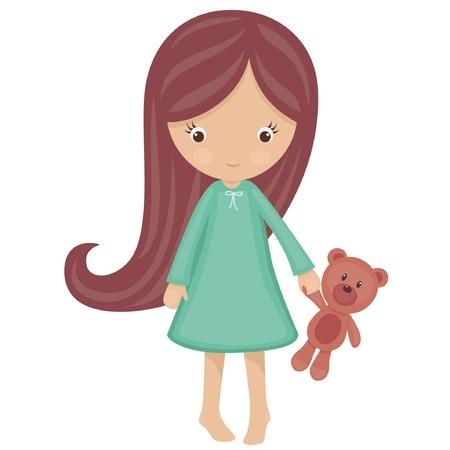 pajamas: Ni�a en pijamas con el oso de peluche