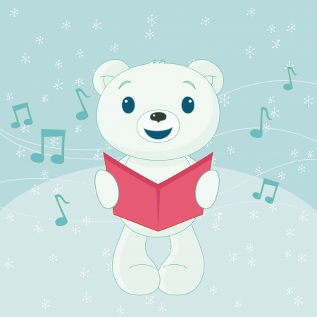 Christmas caroler polar bear Vector