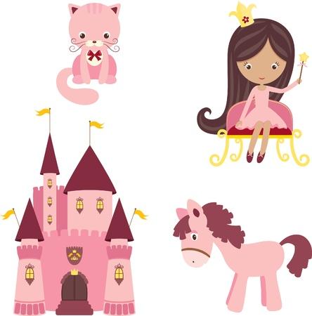 castillos de princesas: Ilustraci�n vectorial de elementos de dise�o de color rosa princesa
