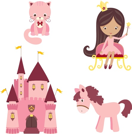 fantasy castle: Vector illustration of pink princess design elements