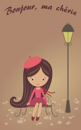 French girl sitting on a bench Vector