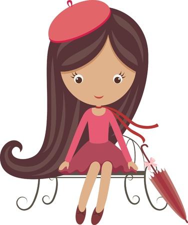 Frans meisje met paraplu zittend op een bankje
