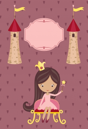 Cute little princess on purple background with blank signboard and two towers Vector