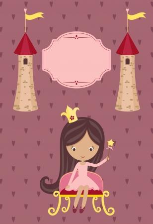 prinzessin: Nette kleine Prinzessin auf lila Hintergrund mit leeren Schild und zwei Türme